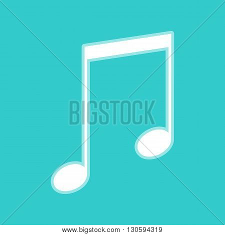 Music sign. White icon with whitish background on torquoise flat color.