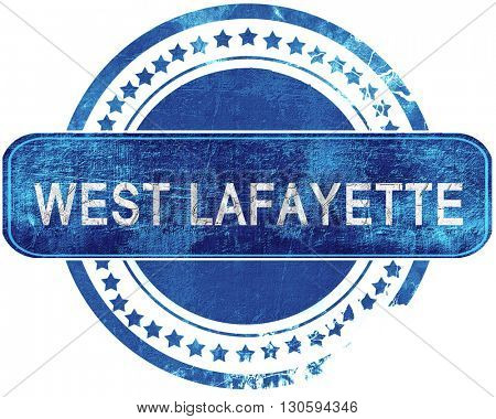 west lafayette grunge blue stamp. Isolated on white.
