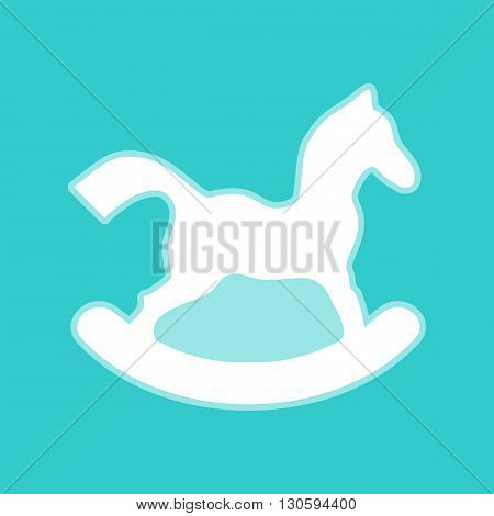 Horse toy sign. White icon with whitish background on torquoise flat color.