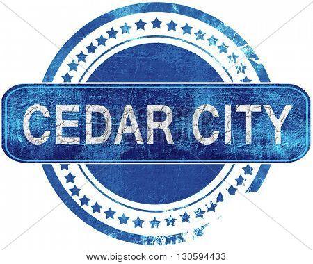 cedar city grunge blue stamp. Isolated on white.