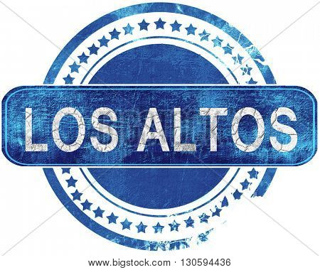 los altos grunge blue stamp. Isolated on white.