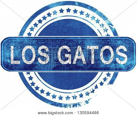 los gatos grunge blue stamp. Isolated on white.