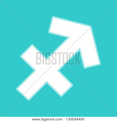Sagittarius sign. White icon with whitish background on torquoise flat color.