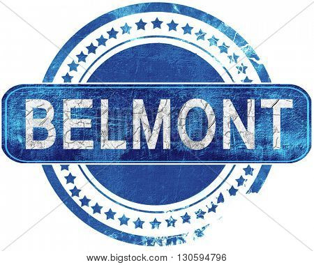 belmont grunge blue stamp. Isolated on white.
