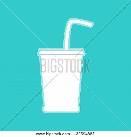 Drink sign. White icon with whitish background on torquoise flat color.