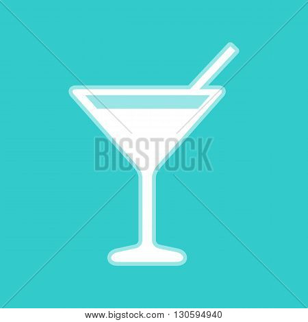 Cocktail sign. White icon with whitish background on torquoise flat color.