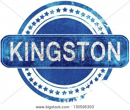 kingston grunge blue stamp. Isolated on white.