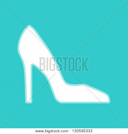 Woman shoe sign. White icon with whitish background on torquoise flat color.