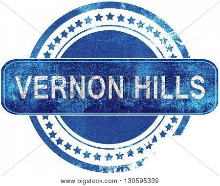 vernon hills grunge blue stamp. Isolated on white.