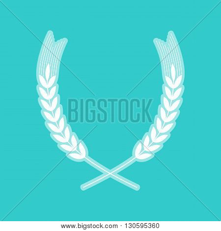 Wheat sign. White icon with whitish background on torquoise flat color.