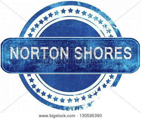 norton shores grunge blue stamp. Isolated on white.