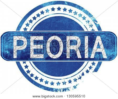 peoria grunge blue stamp. Isolated on white.
