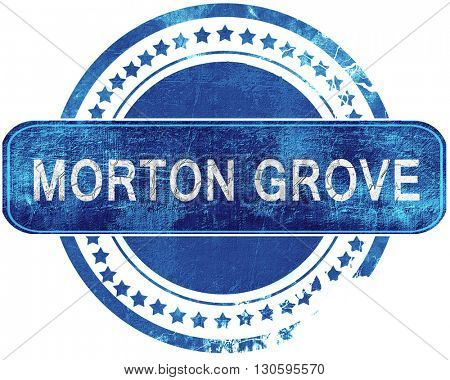 morton grove grunge blue stamp. Isolated on white.