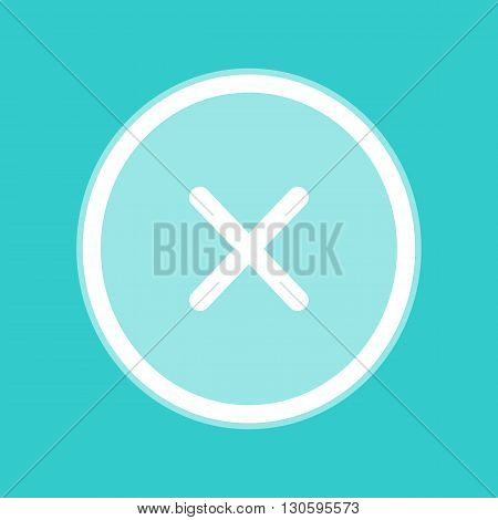 Cross sign. White icon with whitish background on torquoise flat color.
