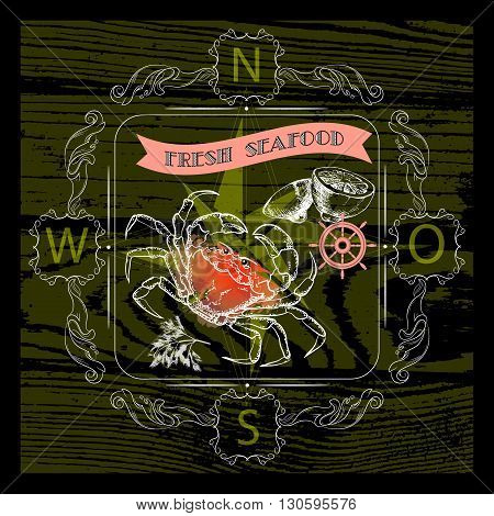 Vector  label with seafood crab silhouette, nautical accsessory and words Fresh Seafood on dark background.