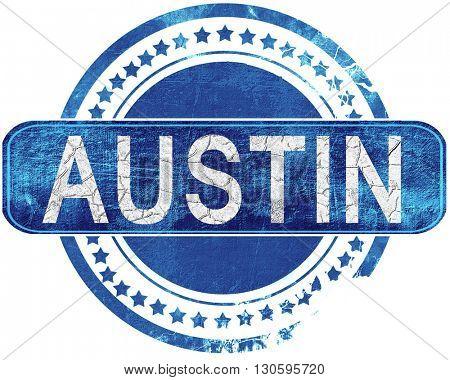 austin grunge blue stamp. Isolated on white.