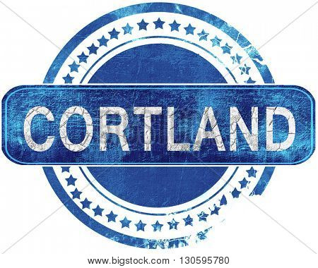 cortland grunge blue stamp. Isolated on white.