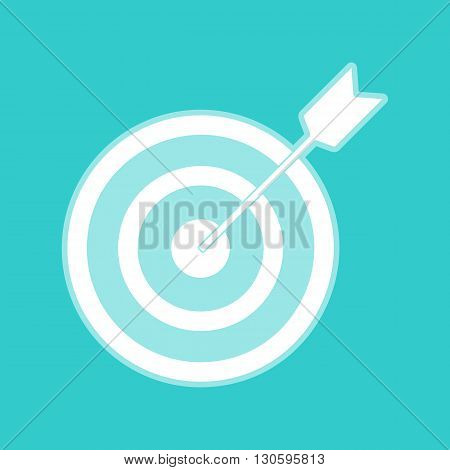 Target with dart. White icon with whitish background on torquoise flat color.