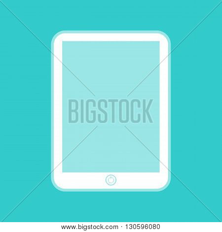 Computer tablet sign. White icon with whitish background on torquoise flat color.