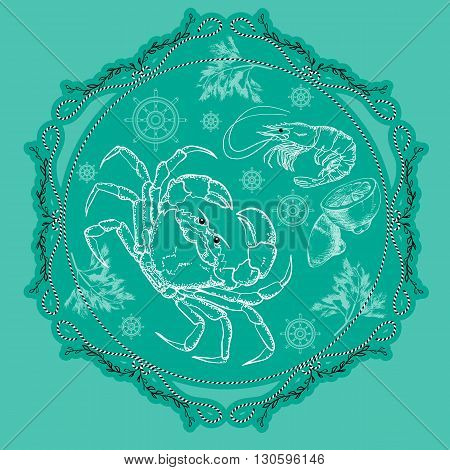 Vector seafood label with silhouette crab, shrimp lemon and dill on aquamarine background.