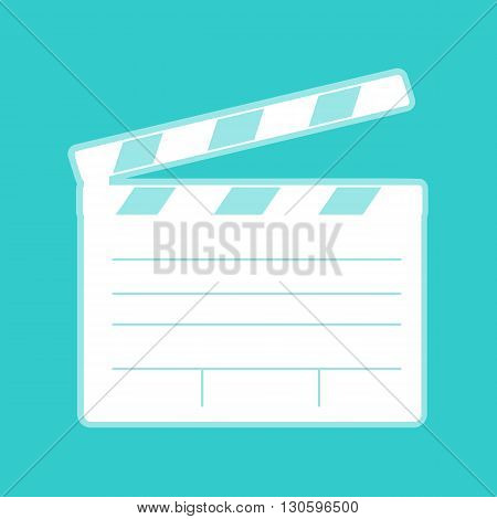 Film clap board cinema sign. White icon with whitish background on torquoise flat color.