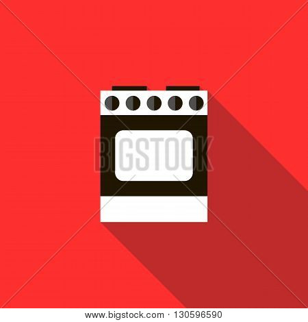 Stove for cooking icon in flat style with long shadow. Cooking and equipment symbol