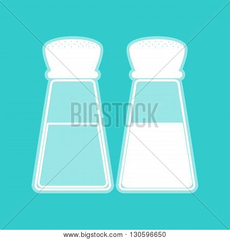 Salt and pepper sign. White icon with whitish background on torquoise flat color.