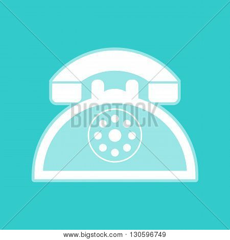 Retro telephone sign. White icon with whitish background on torquoise flat color.