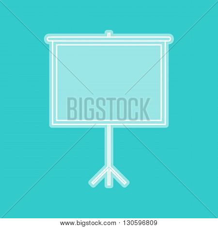 Blank Projection screen. White icon with whitish background on torquoise flat color.