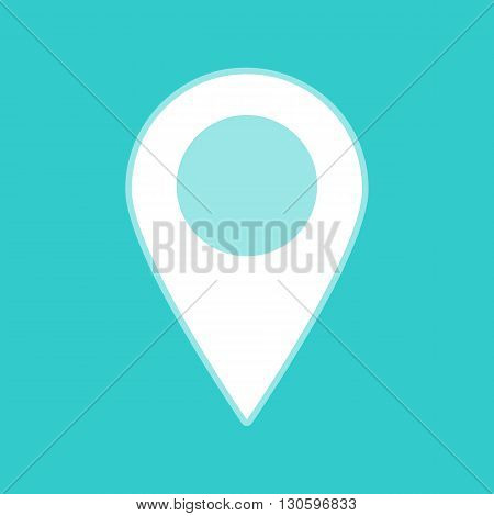 Mark pointer sign. White icon with whitish background on torquoise flat color.
