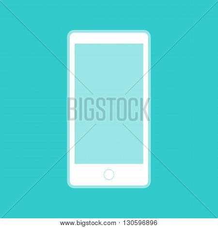Abstract style modern gadget with blank screen. Template for any content. White icon with whitish background on torquoise flat color.