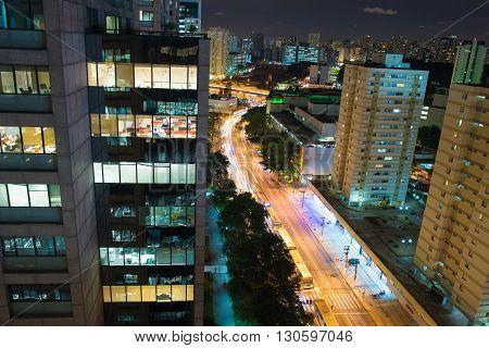 Sao Paulo - MAY 10 2016 - Lights's city at Francisco Matarazzo Avenue of Allianz Arena is a football stadium São Paulo Brazil