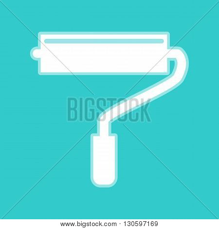 Roller sign. White icon with whitish background on torquoise flat color.