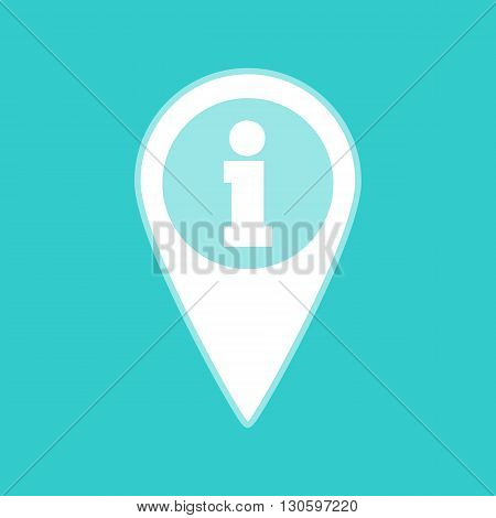 Map pointer with information icon. White icon with whitish background on torquoise flat color.