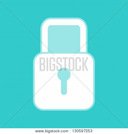 Lock sign. White icon with whitish background on torquoise flat color.