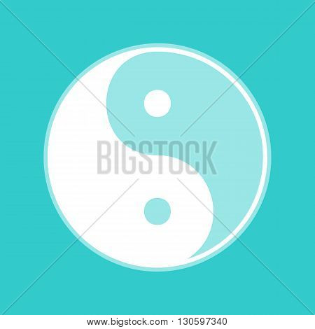 Ying yang symbol of harmony and balance. White icon with whitish background on torquoise flat color.