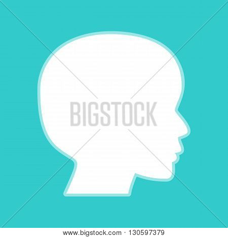 Human head sign. White icon with whitish background on torquoise flat color.