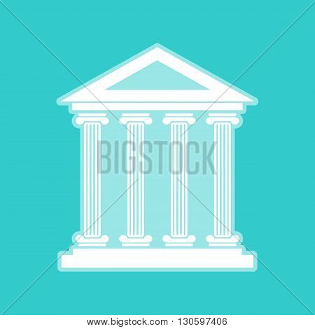 Historical building. White icon with whitish background on torquoise flat color.