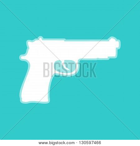 Gun sign. White icon with whitish background on torquoise flat color.