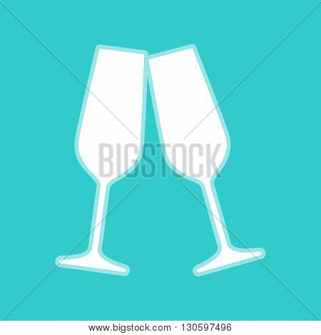 Sparkling champagne glasses. White icon with whitish background on torquoise flat color.