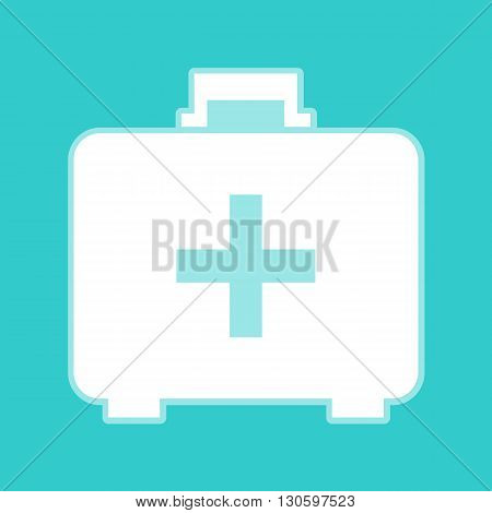 First aid box sign. White icon with whitish background on torquoise flat color.