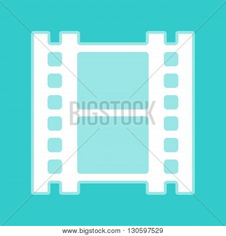 Reel of film sign. White icon with whitish background on torquoise flat color.