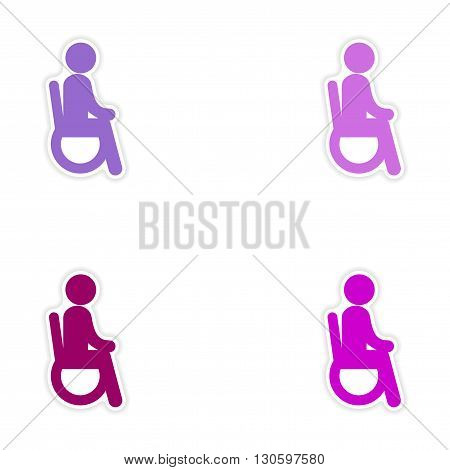 Set of stickers man in wheelchair on white background