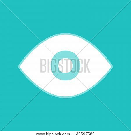Eye sign. White icon with whitish background on torquoise flat color.
