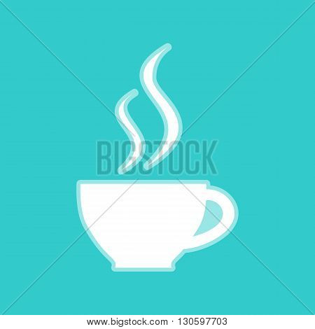 Cup of coffee sign. White icon with whitish background on torquoise flat color.