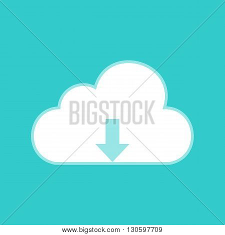 Cloud sign. White icon with whitish background on torquoise flat color.