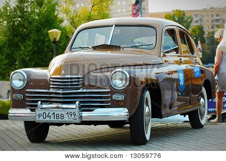 Brown GAZ Pobeda (vintage USSR car)