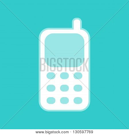 Cell Phone icon. White icon with whitish background on torquoise flat color.