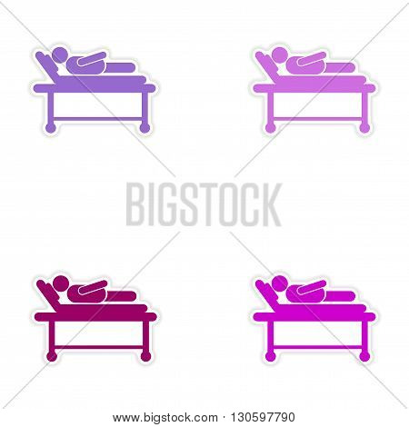 Set of stickers man in hospital bed on white background