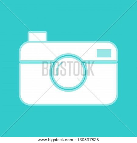 Digital photo camera icon. White icon with whitish background on torquoise flat color.